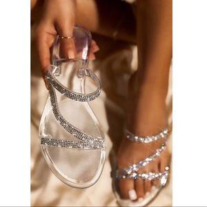 Shoes - Clear Jelly Rhinestone Flat Sandal